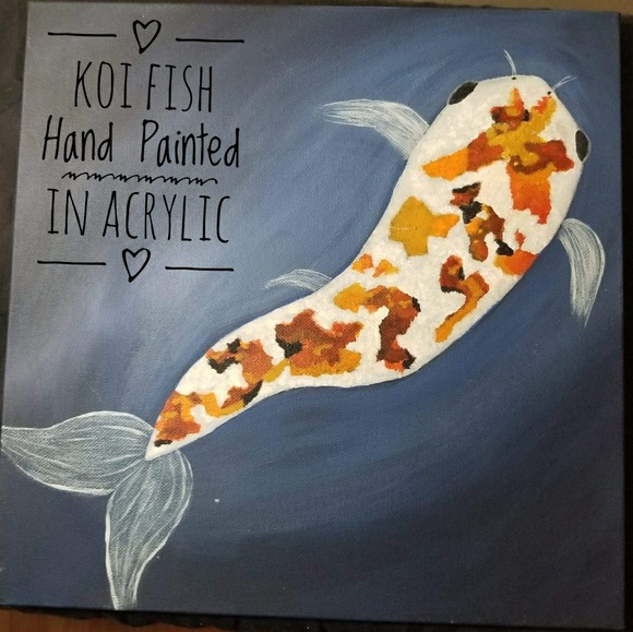 Hand Painted Other - Koi Fish Hand Painted Original in Acrylic  12x12